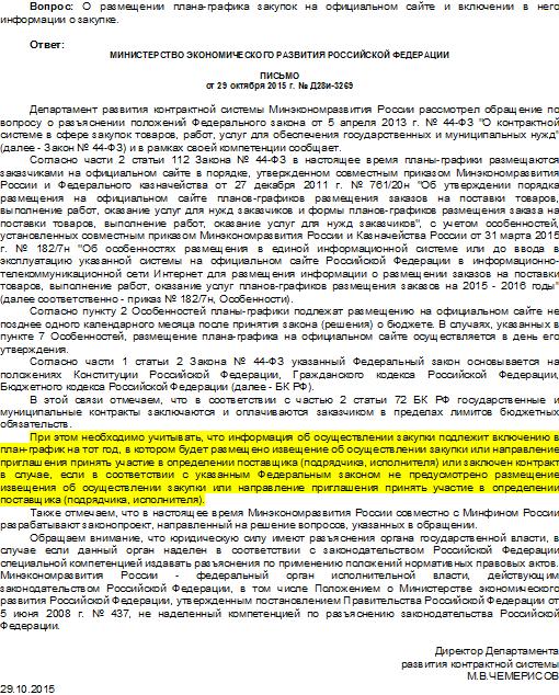 Письмо Минэкономразвития от 29.10.15 г. № Д28и-3269